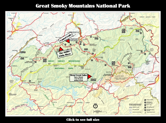 Map GSMNP Waterfalls