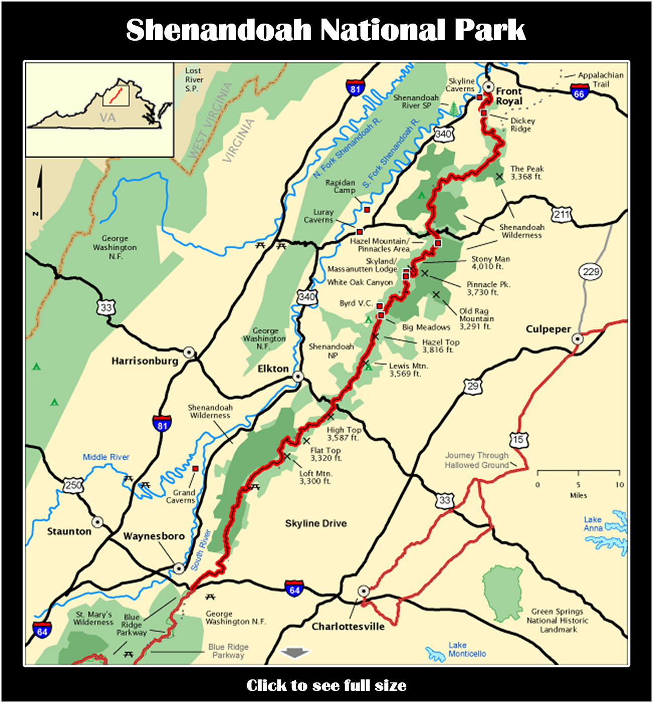 snp full map shenandoah . shenandoah national park  the wild edge